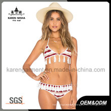 Women Tassels Striped Knit Swim Suit
