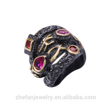 Anel de ródio preto vintage rubi pedra preciosa anel de gaiola CZ