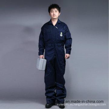 65% poliéster 35% algodón con cremallera frontal manga larga uniforme de seguridad de la bata (BLY1015)