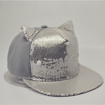 Bling Bling Cat Ear Snapback Cap