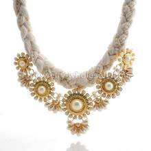 Rope Chain Link Zinc Alloy Inlay Pearl Cute Necklace For Party