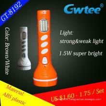 2014 new design super power plastic led solar flashlight