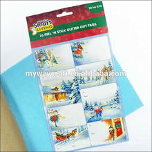China wholesale custom christmas holiday glitter sticker label printing