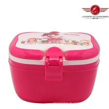 2014 Caja de almuerzo plástica de la nueva alta calidad del estilo con la impresión encantadora