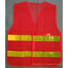 Poliéster Safety Waistcoat com alta faixa reflexiva para a estrada