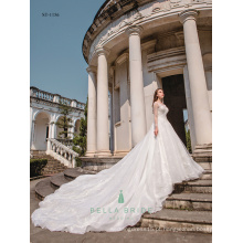 Imagens reais de lindos vestidos de noiva Vestido de noiva de designer chinês Vestido de noiva de manga longa para filipinas