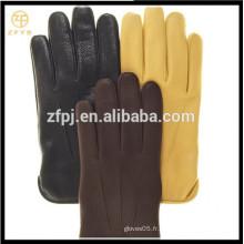 ZF5626 Gants de deerskin doublés en laine de base de style masculin aux couleurs multiples