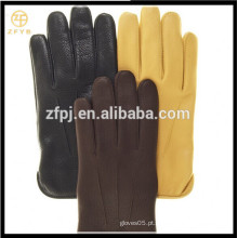 ZF5626 Luvas de Deerskin alinhadas de lã de estilo básico dos homens com multi-cores