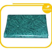 Зеленый FEITEX Жаккард африканские ткани ручной работы ткань 100% хлопок 5 ярдов Shadda Базен riche платья кафтан 2016