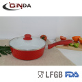 Frigideira branca cerâmica com tampa