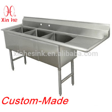 Economy Free Standing Stainless Steel Custom-made Fabricated Bowl 3 three Compartment Kitchen Scullery Sink with two drainboards