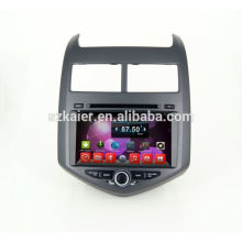 Quad core dvd système de navigation audio de voiture, wifi, BT, lien miroir, DVR, SWC pour Chevrolet Aveo