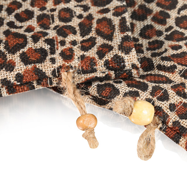 Leopard printed linen bag