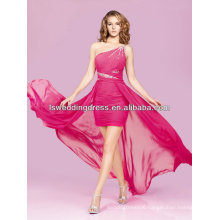 HC2063 Hot pink oblique shoulder beaded gathered tight skirt detachable skirt pink prom dresses