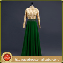 ASA-17 Real Photo Gold and Green Stain Formal Arabic Party Gown with Jacket Heavy Beaded Bodice Long Sleeve Muslim Evening Dress