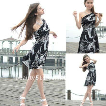 Astergarden real photo One shoulder Knee Length Printed Beading Night Dress AS128
