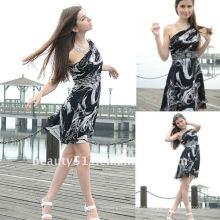 Astergarden foto real Um ombro Comprimento do joelho Impresso Beading Night Dress AS128