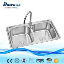 AISI 304 Double Drainer malaysia fregadero de cocina independiente de acero inoxidable