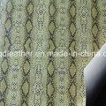 Couro de sapatos de PU de dupla face de superfície de cobra (qdl-sp045)