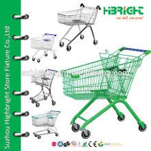 Супермаркет 4-колесная металлическая тележка с сиденьем