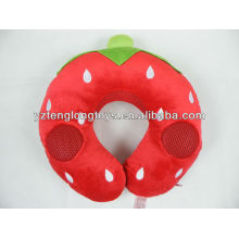 plush U shaped strawberry speaking pillow with voice box