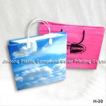 Saco de portador de compras de plástico impresso personalizado, saco de punho de presente, cosméticos / maquiagem bolsa de drawstring