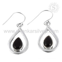 Beautiful silver earring black onyx gemstone jewelry 925 sterling silver wholesale jewellery supplier
