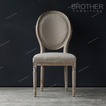 Muebles de comedor de lujo vuelta atrás diseño de madera de roble silla de comedor clásica francesa