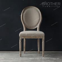 Mobília da sala de jantar de luxo rodada de volta design de madeira de carvalho francês clássico cadeira de jantar