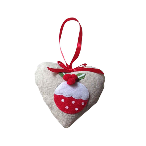 Christmas Burlap Heart Hanging Ornaments