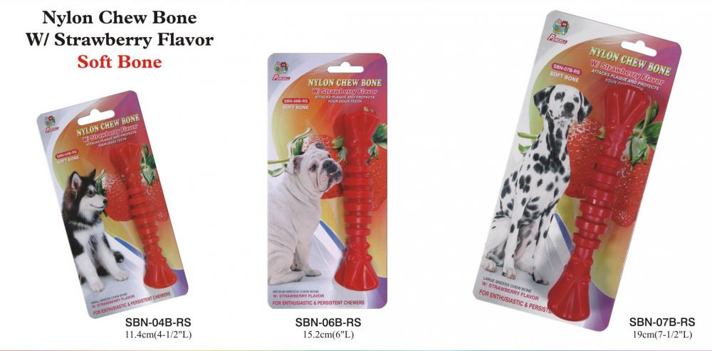 Strawberry Nylon Chew Bone Small Medium And Large