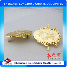 Hochwertige preiswerte Preis-helle Goldhandtasche kundenspezifische Metallaufkleber
