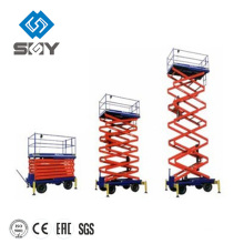 Hydraulic motorcycle aerial work platform, lift tables with wheels