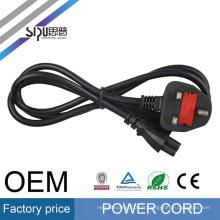 SIPU haute qualité bs1363 a fiches H03VV-F 3x0.75mm2 3 broches BS à IEC C7 AC Royaume-Uni cordon d'alimentation