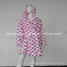 Heart Print Coral Fleece Women Robes