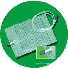 Sac jetable de drainage d'urine avec la valve de traction pour médical, hôpital