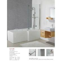 Chinoise, acrylique, solide, surface, blanc, salle de bain, L, forme, bains de douche