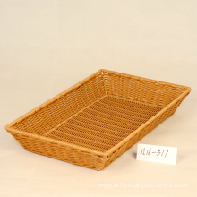 Leading for Woven Storage Baskets Rectangular Plastic Rattan Bread Basket export to Japan Factory