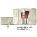 5pcs portable makeup brush kit with satin purse