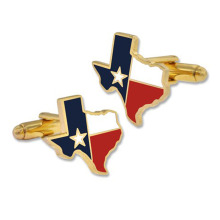 Mewah Texas State Flag Cufflinks dengan Gold Plating