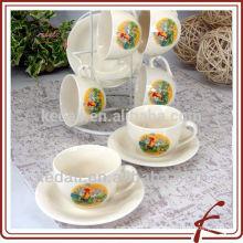 Conjunto de café de cerámica conjunto de té tazas y platillos seis conjuntos con titular
