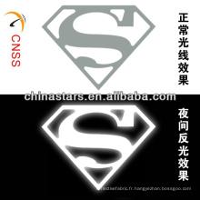 Marque réfléchissante à transfert de chaleur superman personnalisée