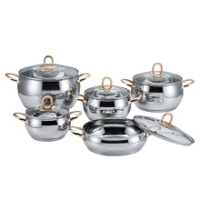 Stainless Steel Golden Handle Apple Shape Cookware Set