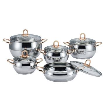 Stainless Steel Golden Handle Apple Shape Cookware Set