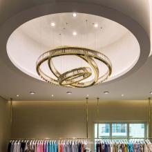 Luz suspensa de teto em anel redondo led no lobby do hotel