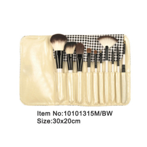 10pcs portable plastic handle animal/nylon hair makeup brush set with satin case