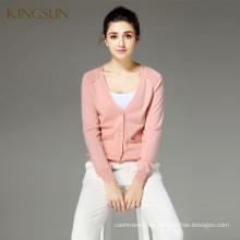 Frauen 100% Merino Wolle V-Ausschnitt Langarm Strickjacke Pullover
