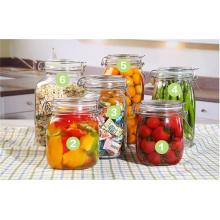Tarros de vidrio de alimentos altos vacíos con tapas con bisagras