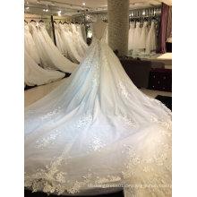 Prinzessin V-Ausschnitt 2017 Echtes Muster Hochzeitskleid
