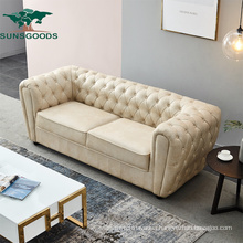 Modern Design 1 2 3 Seater Wood Frame Leather Chesterfield Sofa Home Furniture Set